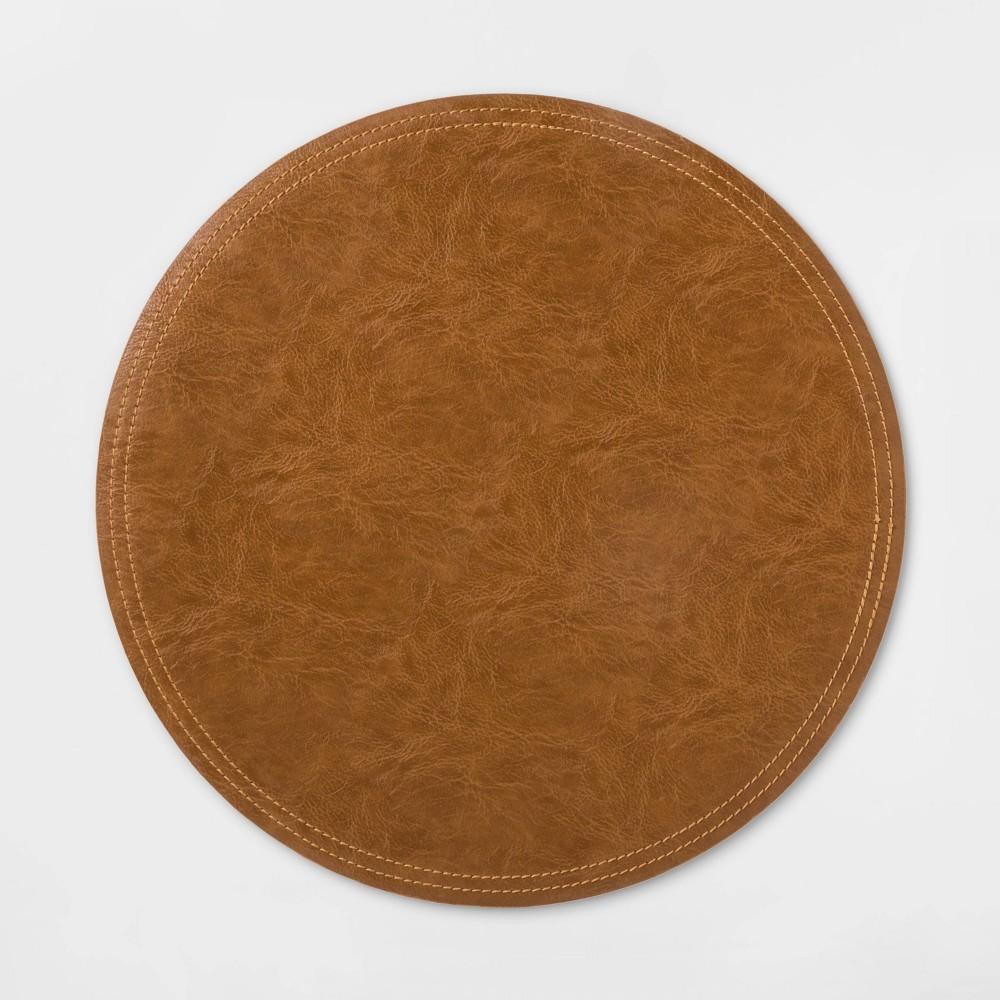 Image of Faux Leather Charger Brown - Threshold