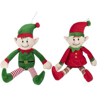 "Blue Panda 2-Pack Christmas Elves Plush Toy, Santa Helper Boy and Girl Elf Stuffed Doll for Kids, 12"""