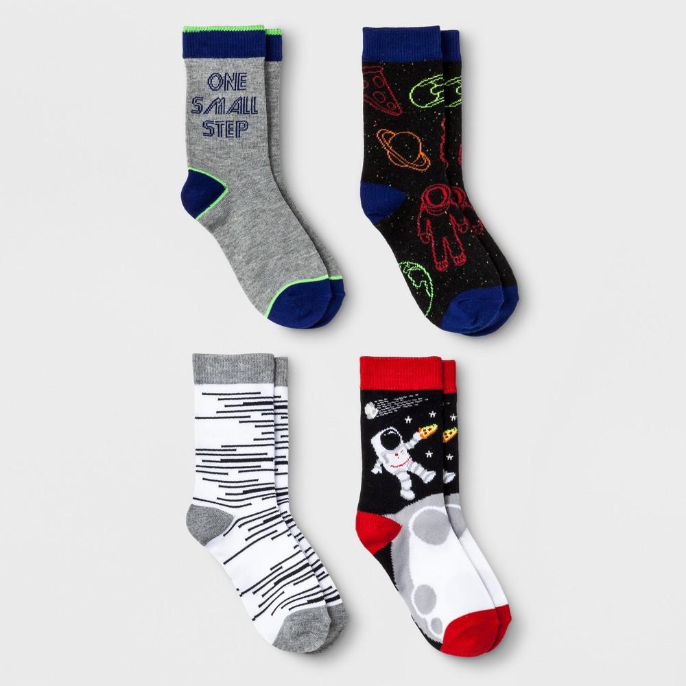 Boys' 4pk Astronaut Print Crew Socks - Cat & Jack S, Multicolored