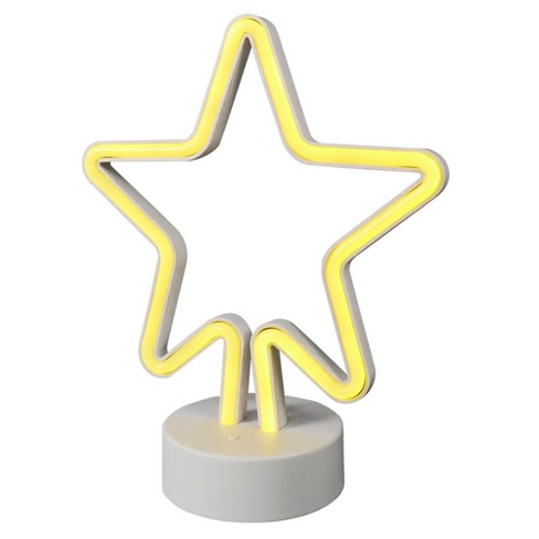 LED Neon Figural Star Novelty Table Lamp Yellow - Room Essentials™ - image 1 of 1