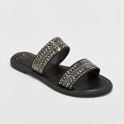Women's Kersha Embellished Slide Sandals - A New Day™ Black 7