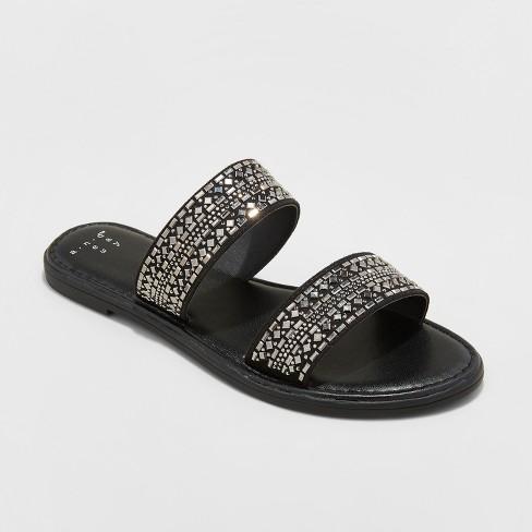 8e298ec9f167 Women s Kersha Embellished Slide Sandals - A New Day™ Black 6.5   Target