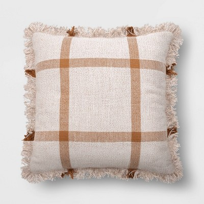 Square Woven Plaid Pillow with Fringe Cream/Brown - Threshold™