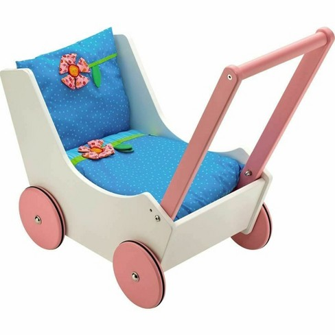 HABA Walk Along Dolly Wooden Doll Pram with Bedding & Adjustable Handle - image 1 of 4