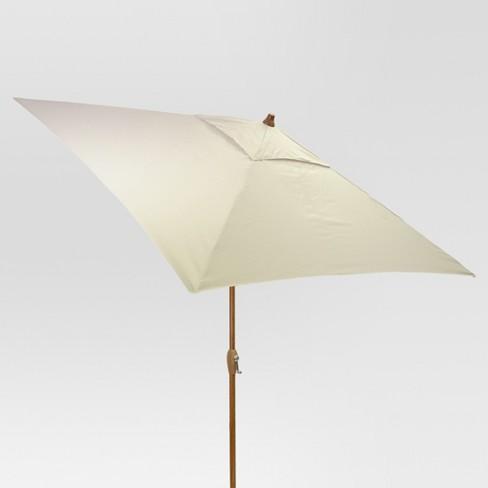 6.5' Square Umbrella - Linen - Medium Wood Finish - Threshold™ - image 1 of 1