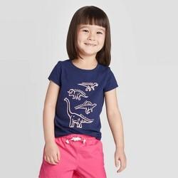 Toddler Girls' Short Sleeve Dinosaur Graphic T-Shirt - Cat & Jack™ Navy