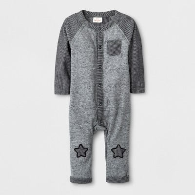 Baby Boys' Long Sleeve Romper - Cat & Jack™ Black/Gray 0-3M