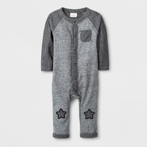 9241964b7869 Baby Boys  Long Sleeve Romper - Cat   Jack™ Black Gray 18M   Target