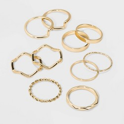 Casted Metal Multi Ring Set 10pc - Wild Fable™ Gold