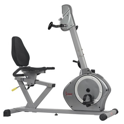 Sunny Health & Fitness Recumbent Bike with Arm Exerciser - Silver