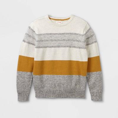 Boys' Colorblock Striped Crew Neck Sweater - Cat & Jack™