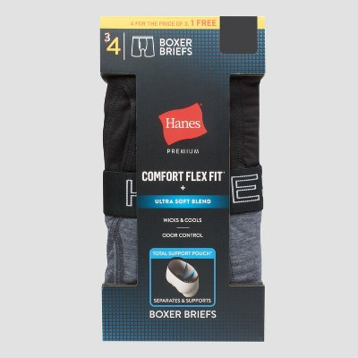 Hanes Premium Men's Total Support Pouch 3+1 Bonus Pack Boxer Briefs