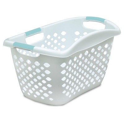 Home Logic Hip Grip Laundry Basket - White with Teal Handles
