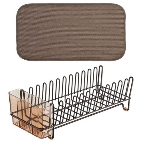 mDesign Kitchen Counter Dish Drying Rack & Microfiber Mat, Set of 2 - image 1 of 4