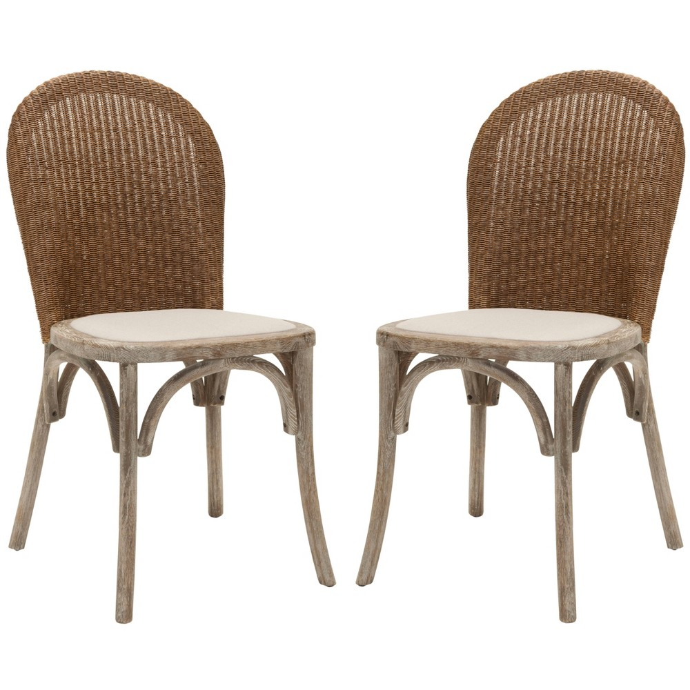 Conner Dining Chair Wood/Beige (Set of 2) - Safavieh