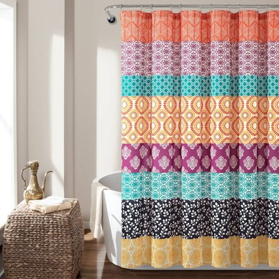 Bohemian Striped Shower Curtain Orange - Lush Décor