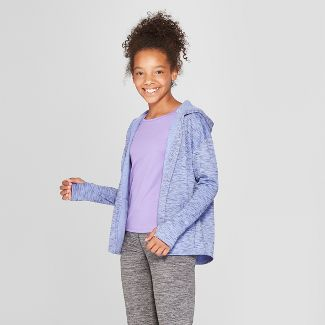 Girls' Plush Fleece Hooded Cardigan - C9 Champion® Blue Heather XS