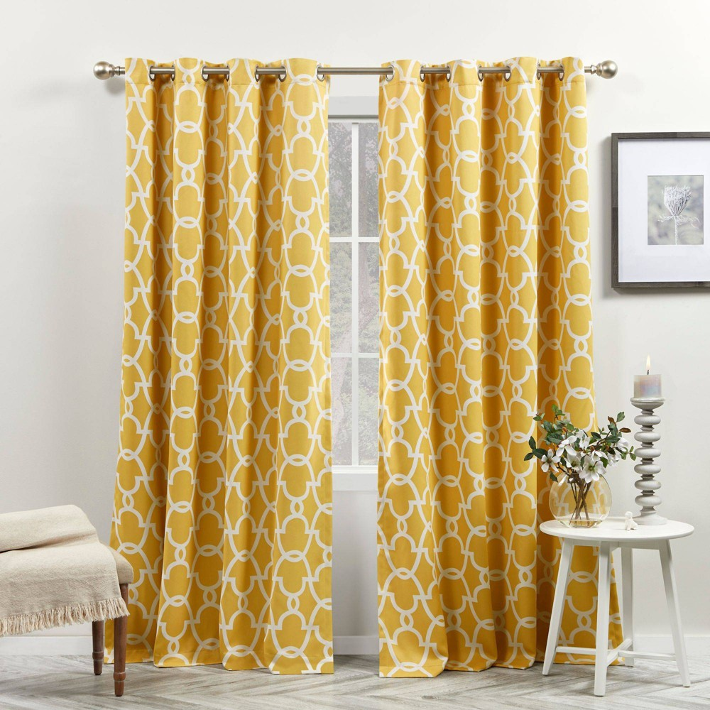 Set Of 2 96 34 X52 34 Gates Sateen Woven Room Darkening Grommet Top Window Curtain Panel Yellow Exclusive Home