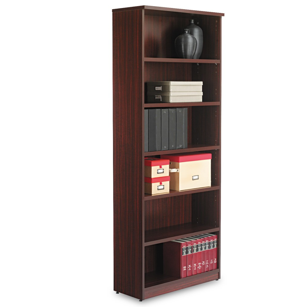Image of Alera Valencia Series Bookcase, Six-Shelf, 31 3/4w x 14d x 80 3/8h, Mahogany, Brown