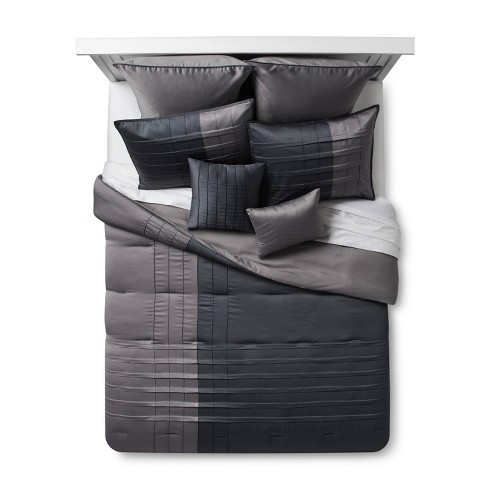 Gray Pearl Matte Satin Comforter Set 8pc - image 1 of 3