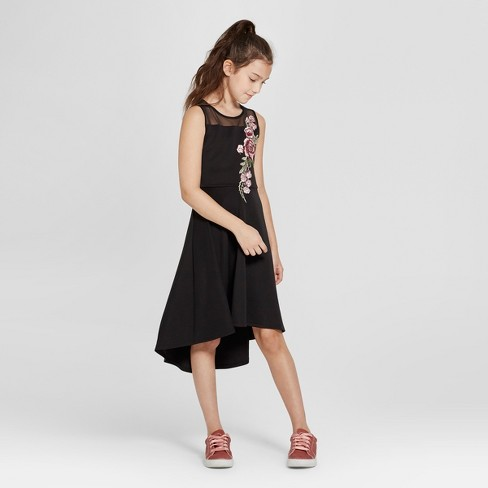 Lots of Love by Speechless Girls' Illusion Neckline Embroidered Dress - Black - image 1 of 3