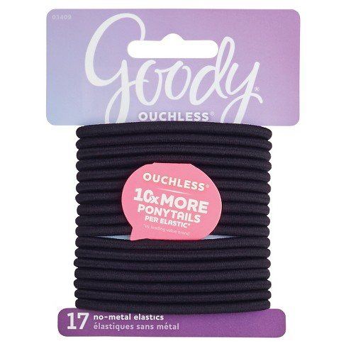 Goody Ouchless Elastic Hair Ties - Black - 4mm - 17ct - image 1 of 4