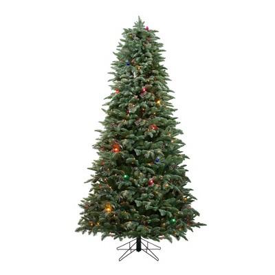 Northlight 7.5' Prelit Artificial Christmas Tree Slim Flocked Dunton Spruce - Multi-Color Lights