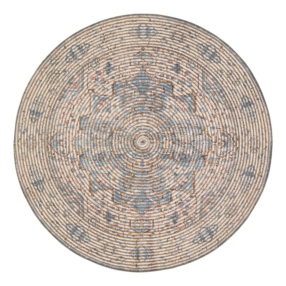 Image of 4' Woven Medallion Round Accent Rug - Anji Mountain, Multicolored