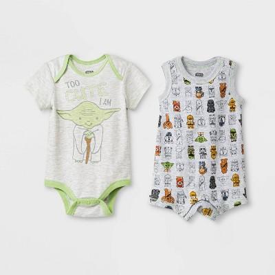 Baby 2pk Yoda Star Wars Bodysuit Newborn