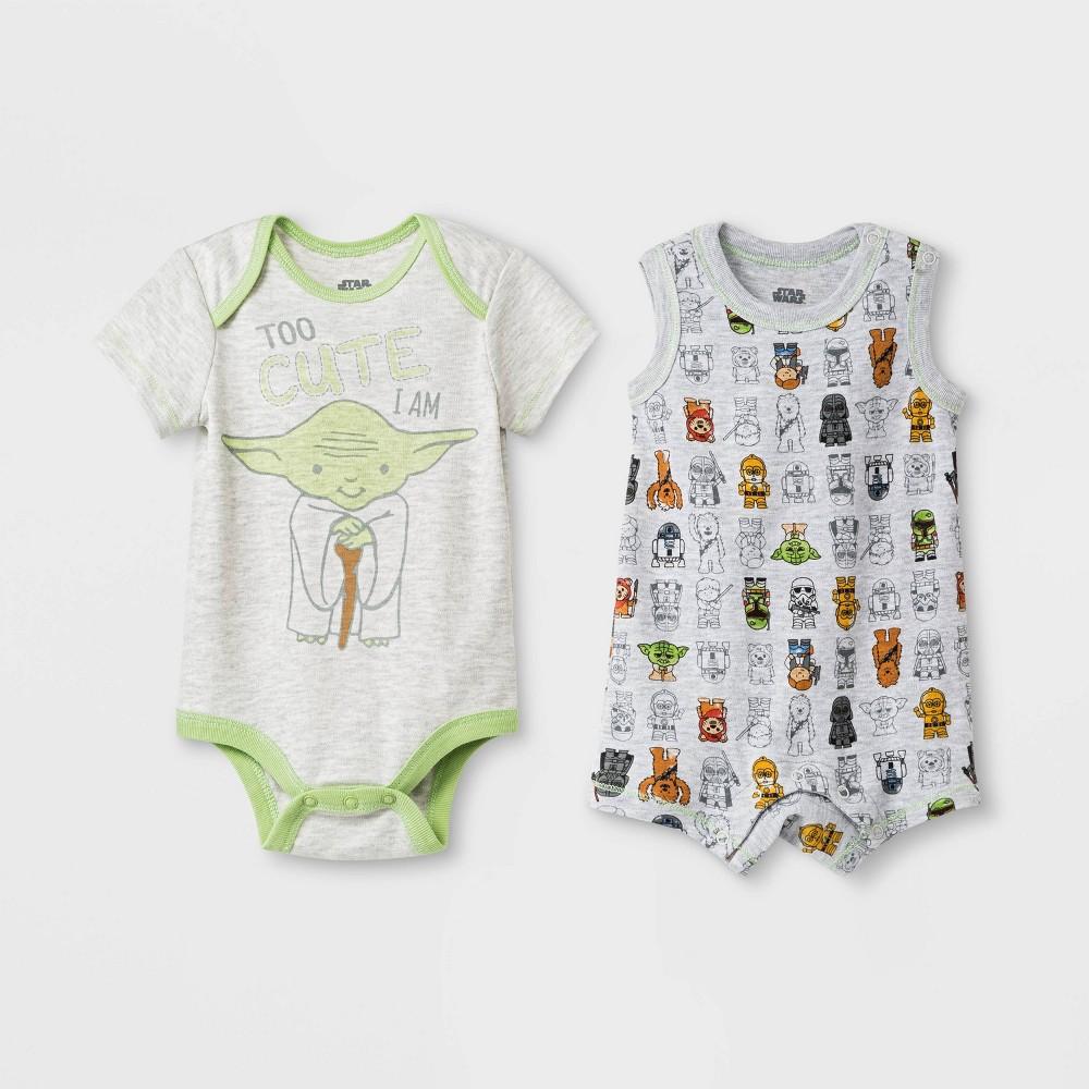 Image of Baby 2pk Yoda Star Wars Bodysuit 0-3M, Kids Unisex, MultiColored