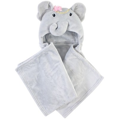 Little Treasure Baby Girl Plush Hooded Blanket, Blossom Elephant, One Size