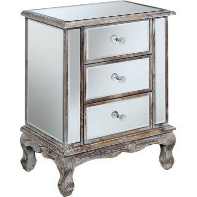 Gold Coast Vineyard 3 Drawer Mirrored End Table Weathered White/Mirror - Breighton Home