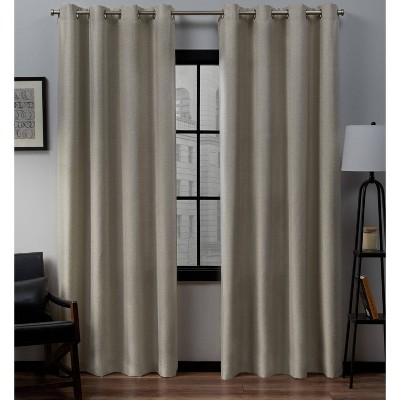 """Set of 2 (96""""x52"""")Loha Linen Grommet Top Light Filtering Curtain Panel White - Exclusive Home"""
