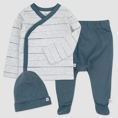Honest Baby Boys' 3pc Organic Cotton Dotted/Striped Kimono Top and Footed Pants with Beanie - Light Gray/Blue 0-3M