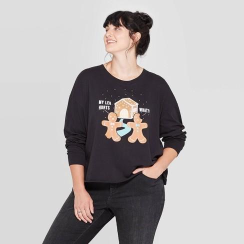 Women's Gingerbread Season's Eatings Plus Size Long Sleeve T-Shirt (Juniors') - Vintage Black - image 1 of 2