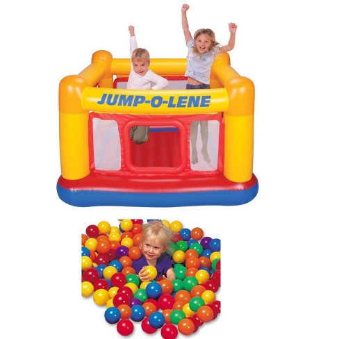 INTEX Inflatable Jump-O-Lene Ball Pit Bouncer Bounce House w/ 100 Play Balls - image 1 of 4