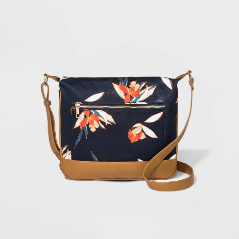 Floral Print Canvas Messenger Crossbody Bag - A New Day™ - image 1 of 3