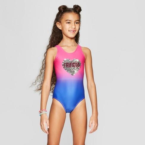 b13ad51b5457d Girls' Flip Sequin Wish You Were Here One Piece Swimsuit - Cat & Jack™ Blue  XL Plus : Target