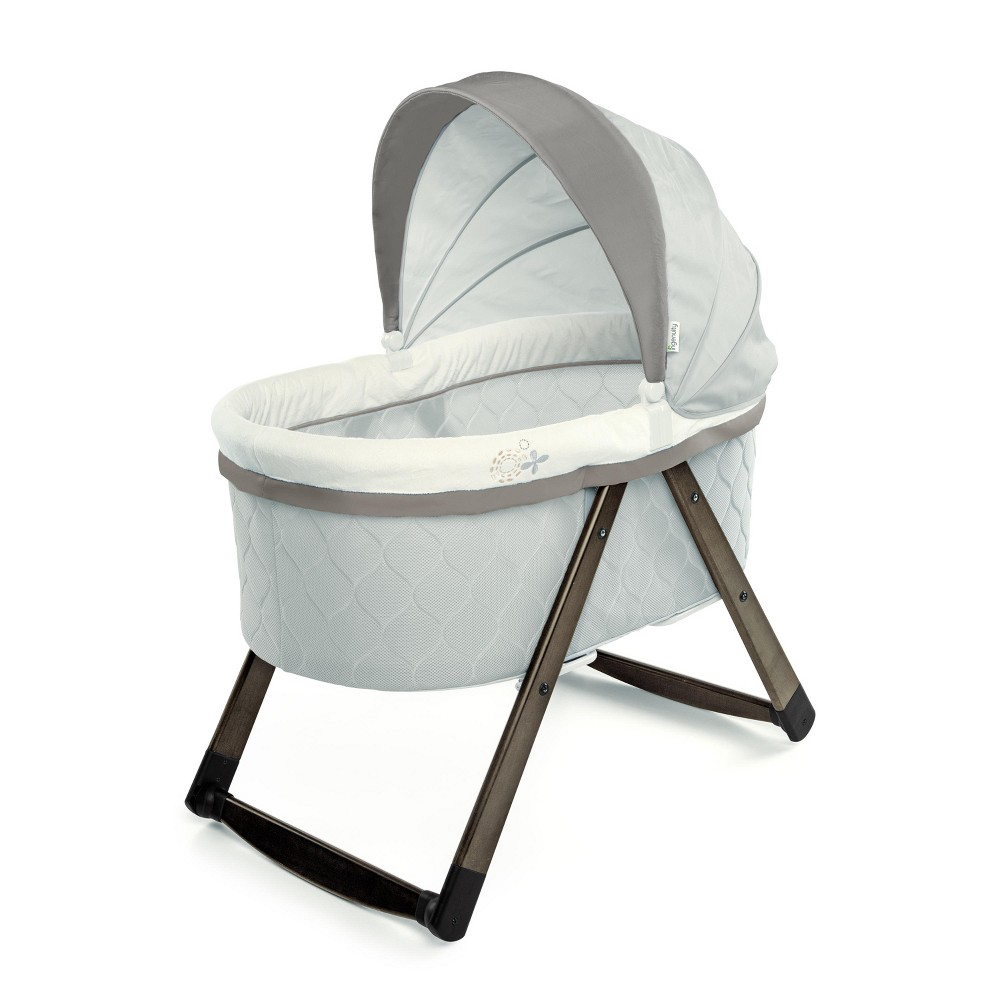 Image of Ingenuity Foldaway Rocking Wood Bassinet - Carrington, Gray Beige