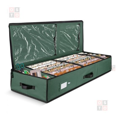 """OSTO Premium Underbed Wrapping Paper Organizer with Interior Pockets Fits 18-24 40"""" Rolls. 600D Oxford Polyester Tear Proof Material"""