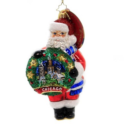 "Christopher Radko 6.5"" Celebrate Chicago Santa Ornament Windy City  -  Tree Ornaments"