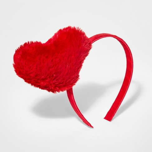 Girls  Furry Heart Headband - Cat   Jack™ Pink   Target bae829325f7