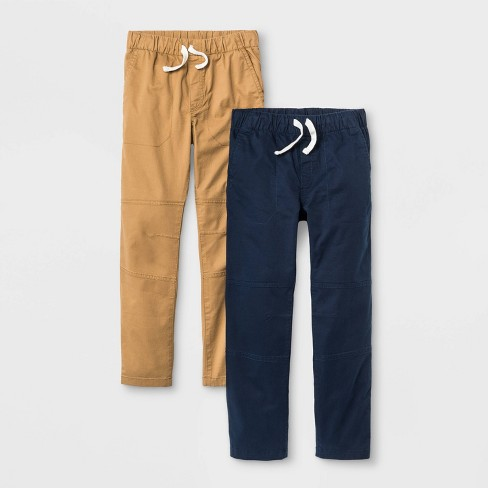 Boys' 2pk Stretch Straight Fit Pull-On Woven Pants - Cat & Jack™ Brown/Blue - image 1 of 2