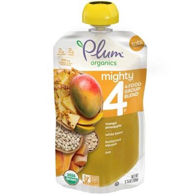 Plum Organics Mighty 4 Organic Mango Pineapple White Bean Butternut Squash Oat Baby Food Pouch - 3.75oz