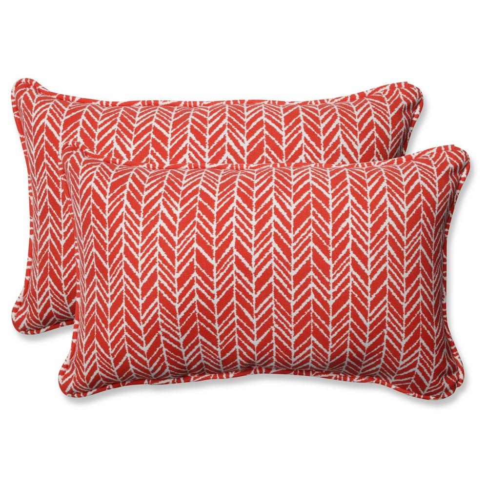 Outdoor Indoor Herringbone Red Rectangular Throw Pillow Set Of 2 Pillow Perfect