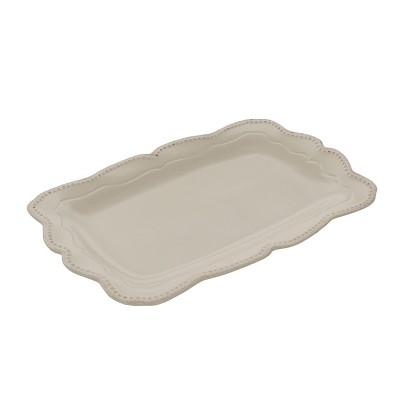 Gibson Capri 14 Inch Stoneware Rectangle Platter in Sand