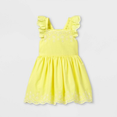 Toddler Girls' Embroidered Flutter Sleeve Dress - Cat & Jack™ Yellow