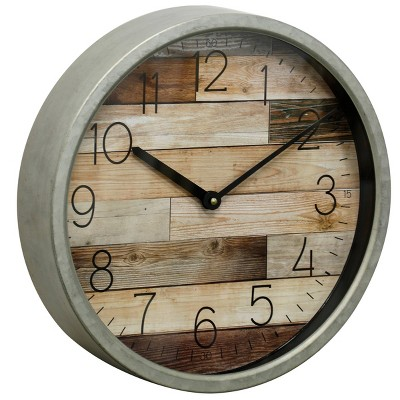 Round Wood Glass Faux Plank Wall Clock with Frame Gray - StyleCraft