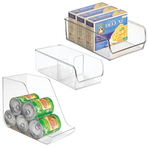 mDesign Food/Soda Organizer, Spice Packet Bin, Storage Bin - Set of 3, Clear - image 1 of 4