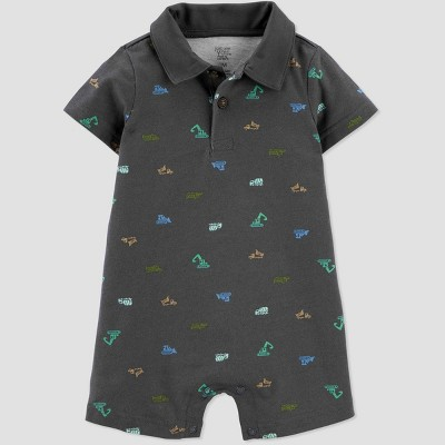 Baby Boys' Construction Romper - Just One You® made by carter's Gray 3M